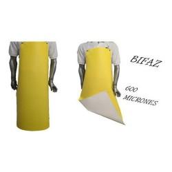DELANTAL PVC AMARILLO/ BLANCA BIFAZ 0.70 X 1.20