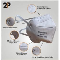 MASCARILLA RESPIRADOR DESCARTABLE KN95 (X 2 UNID ) STEELPRO